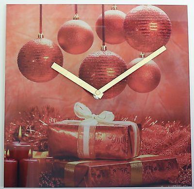 616 Wanduhr ! Glas ! Weihnachts Design !