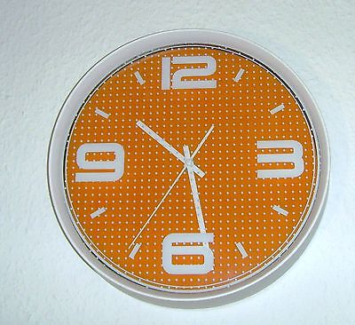 273 Wanduhr ! weiss - orange ! super modern !