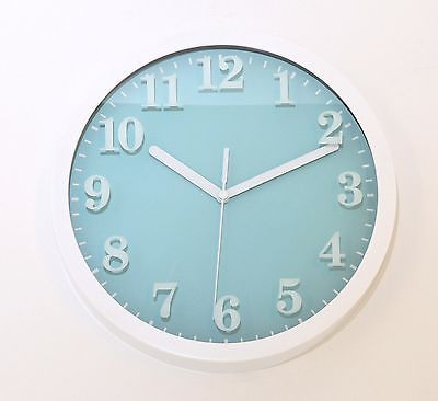 683 Mebus Wanduhr ! weiß - blau ! super modernes design ! 25 cm