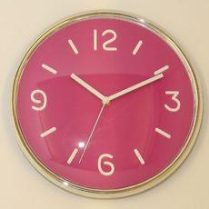670 Mebus Wanduhr ! chrom - pink ! super modernes design ! 30,5 cm