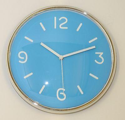 669 Mebus Wanduhr ! chrom - blau ! super modernes design ! 30,5 cm