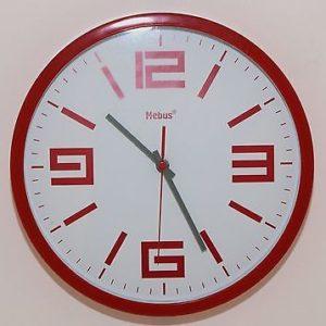 656 Mebus Wanduhr ! Rot -weiß, ! super modernes design ! 30,5 cm