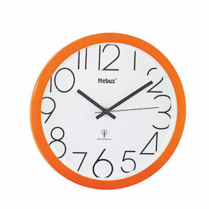 377 Moderner Mebus Funk Wanduhr in orange !!!