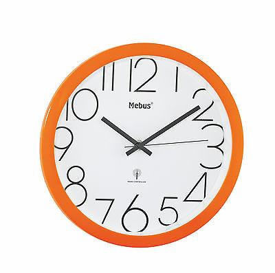 377 Moderner Mebus Funk Wanduhr in orange !!!