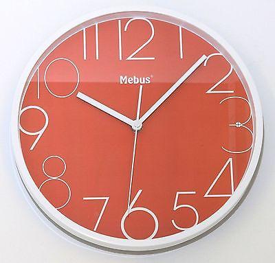652 Mebus Wanduhr ! Weiß mit rot ! super modernes design ! 28 cm