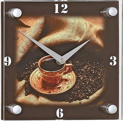 305 Funk Wanduhr! mit Glas! Kaffe Motiv ! Neu !