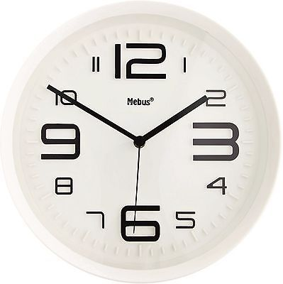 555 Wanduhr ! Mebus ! weiß- schwarz ! modern ! 29 cm !