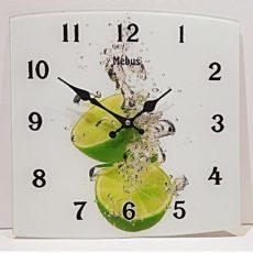 951 Mebus Wanduhr ! Motivuhr ! ca.34 x 34 cm , Glas , Lemon , schicke Form