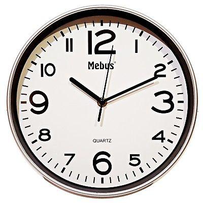 944 Mebus Wanduhr ! super modernes design ! grau - weiß ! 25 cm , leises Werk