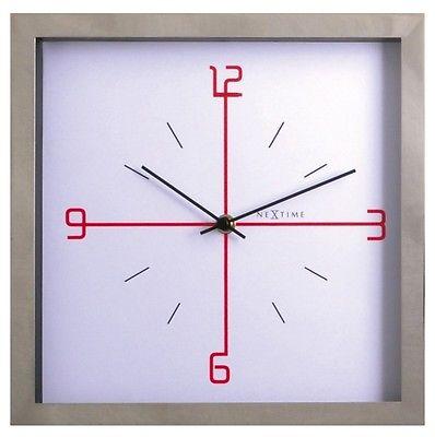 758 Nextime Wanduhr 90261 wi , Chrom mit weiß , 25 x25 cm