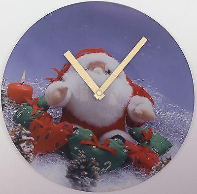 617 Wanduhr ! Glas ! mit Weihnachts Motiv !