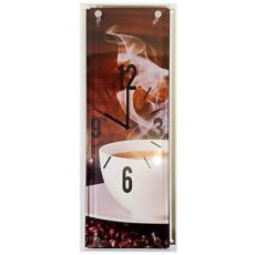 949 Mebus Wanduhr ! Motivuhr ! rechteckig ! Glas !ca.14 x 42 cm , Kaffee Tasse