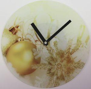 618 Wanduhr ! Glas ! Weihnachts Design !