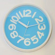 645 Mebus Wanduhr ! weiß - blau ! 29 cm