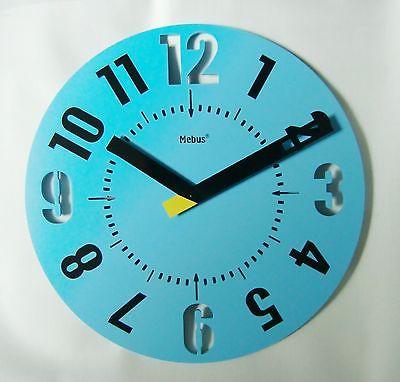 838 Mebus Wanduhr ! Blau - Schwarz ! super modern ! 35 cm