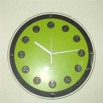 172 Wanduhr ! schwarz - grün ! super modern ! 31 cm