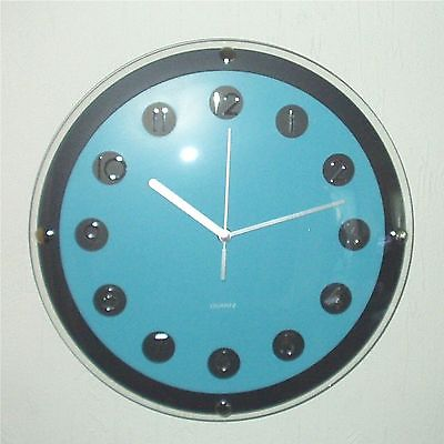 173 Wanduhr ! schwarz - blau ! super modern ! 31 cm