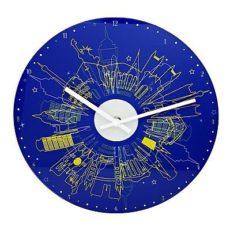 1033 Mebus Wanduhr! Glas ! blau gemustert super modern ! Durchmesser: 30 cm