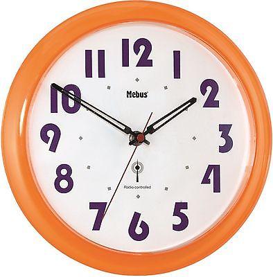 291 Mebus Funk Wanduhr in orange transparent !!!