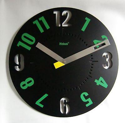 837 Mebus Wanduhr ! schwarz -grün ! super modern ! 35 cm