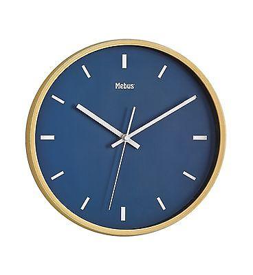 796 Mebus Wanduhr! helle Holzoptik mit blau !modernes design! 29 cm