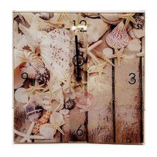 941 Mebus Wanduhr ! Motivuhr ! rechteckig ! ca.28 x 28 cm , Glas Muscheln