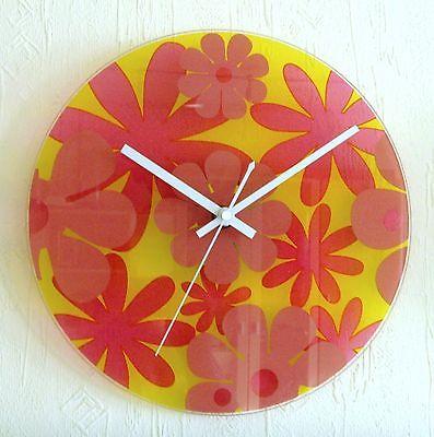 """217 Wanduhr aus Glas """" Blumen """" gelb-pink !!!"""