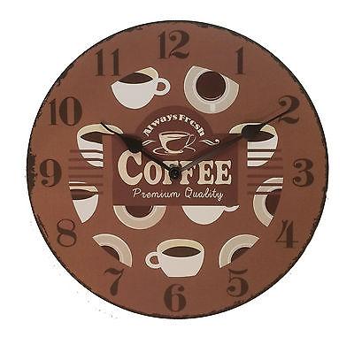 882 Wanduhr Mebus ! Motiv Kaffee ! 28 cm