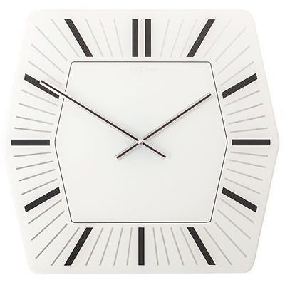 731 Nextime Wanduhr 8128 WI , Glas, weiß - schwarz , sechseckig , 43 x 43 cm