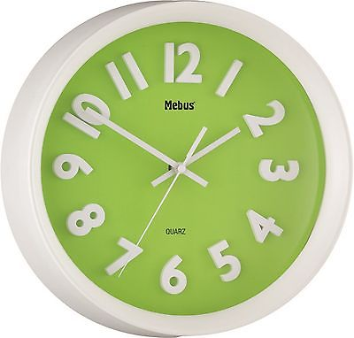 419 Wanduhr ! Mebus ! weiß - grün ! modern !Neu!!