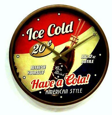 598 Wanduhr ! metall ! Retro look ! ! Cola design !