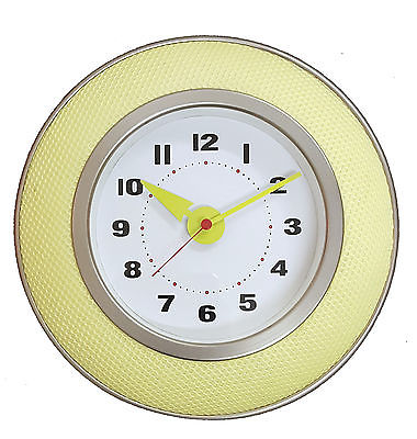 917 Wanduhr Mebus ! Metall gebürstet mit gelbem Stoff ! super design! 25,5 cm