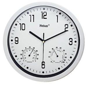 1045 Mebus Wanduhr! Termo / Hygro Anzeige, Durchmesser: 24,5 cm