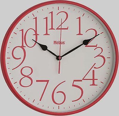 569 Mebus Wanduhr rot-Weiß Modern !