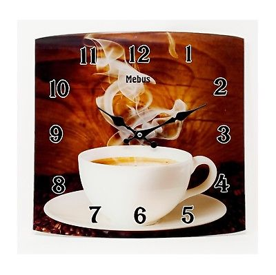 1123 Mebus Wanduhr! schickes Design, Kaffee , 34 cm x 34 cm