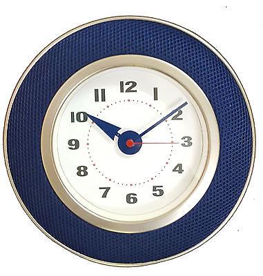 916 Wanduhr Mebus ! Metall gebürstet mit blauem Stoff ! super design! 25,5 cm