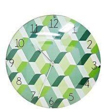 1041 Mebus Wanduhr! grün gemustert ! super Design ! Durchmesser: 30 cm