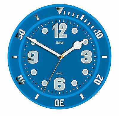 498 Wanduhr aus Glas blau mit Leucht zahlen und Zeigern ! modernes design !