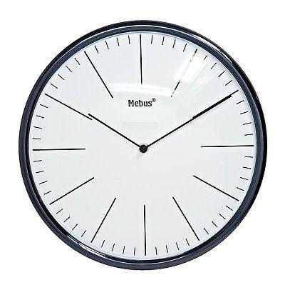 1010 Mebus Wanduhr! schwarz glänzend mit weiß ! Durchmesser: 30 cm