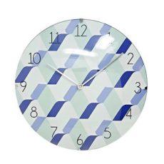1042 Mebus Wanduhr! grün - blau gemustert ! super Design ! Durchmesser: 30 cm