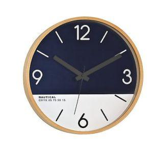 469 Mebus Wanduhr! helles Holz ! mit dunkel blau & weiß ! super Design , 30 cm