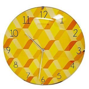 1043 Mebus Wanduhr! gelb - orange gemustert ! super Design ! Durchmesser: 30 cm