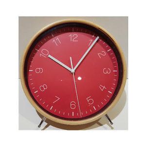 974 Mebus Wanduhr - Tischuhr ! Wecker design in Holzoptik mit rot ! 22 x 24 cm