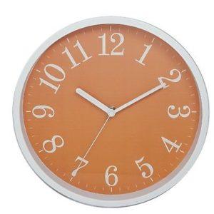 1025 Mebus Wanduhr! weiß mit orange! super modern ! Durchmesser: 25 cm