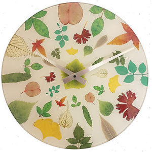 876 Wanduhr Mebus ! Glas ! Motiv bunte Blumen ! 29,5 cm