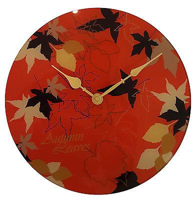 865 Wanduhr Mebus ! Glas ! Motiv Autumn Leaves ! 29,5 cm