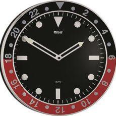 554 Wanduhr ! Mebus ! metall ! schwarz - rot ! 34 cm ! super modern !