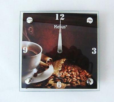 306 Funk Wanduhr! mit Glas! Kaffe Motiv ! Neu !