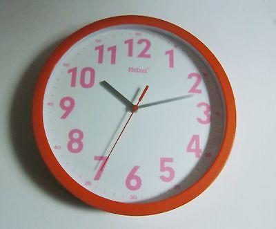 342 Wanduhr ! Mebus ! orange - pink ! modern !Neu!!