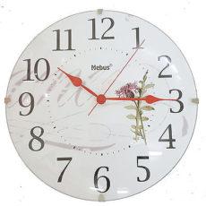 920 Wanduhr Mebus ! Glas ! Motiv Blume ! 24,5 cm